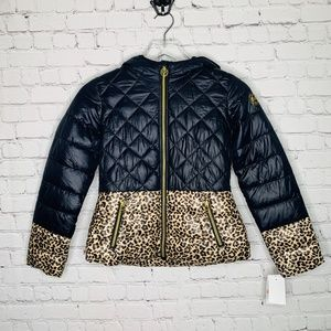 Micheal Kors Leopard Puffer Zip Up Winter Jacket